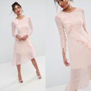 NWT ASOS Pink Ruffle Front Midi Dress